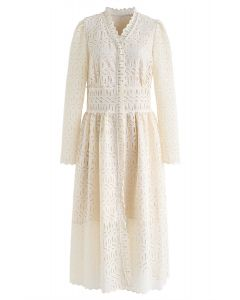 Full Crochet V-Neck Button Down Midi Dress in Cream