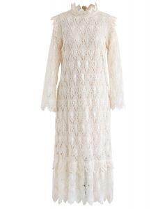 Full Crochet Sleeves Shift Dress in Cream
