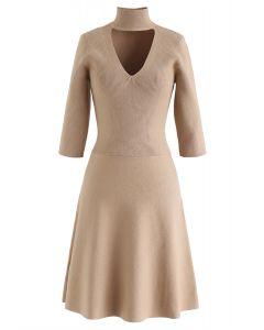 V-Shape Cutout Ribbed Knit Midi Dress in Tan