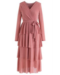 Shimmer Tiered Bowknot Wrap Dress in Coral