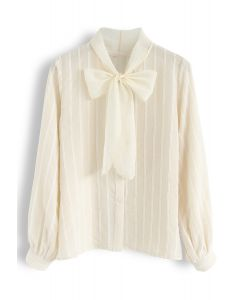 Parallel Mesh Bowknot Neck Sleeves Shirt in Cream