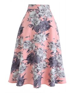 Floral A-Line Flare Midi Skirt in Pink