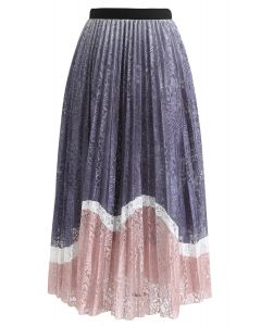 Lightweight Colored Floral Mesh Skirt in Pink