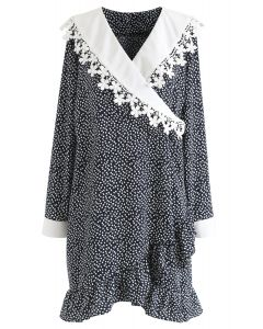 Floret Printed Ruffle Wrapped Dress in Black