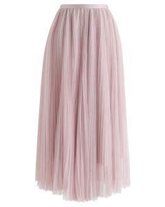 Glittering Mesh Pleated Midi Skirt in Pink