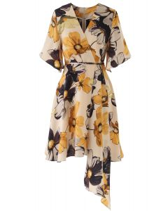 Yellow Floral Print Watercolor Wrap Midi Dress