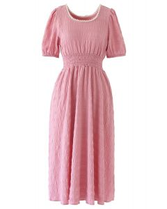 Pearl Trim Round Neck Midi Dress in Pink