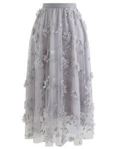 3D Mesh Flower Embroidered Tulle Midi Skirt in Grey