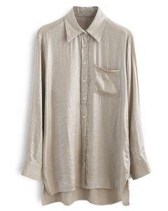 Glitter Button Down Split Hi-Lo Shirt in Champagne