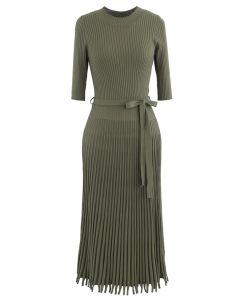 Mock Neck Fringed Hem Ribbed Knit Midi Dress in Army Green