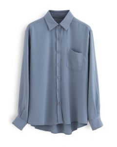 Basic Softness Hi-Lo Shirt in Dusty Blue