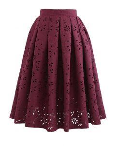 Floral Cutwork Jacquard Midi Skirt in Wine