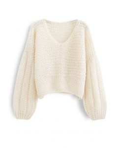 Fluffy Knit Hollow Out Crop Sweater in Ivory