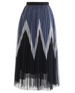 Zigzag Double-Layered Pleated Tulle Midi Skirt in Black