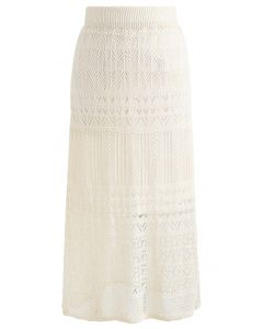 Versatile Hollow Out Knit Skirt in Cream