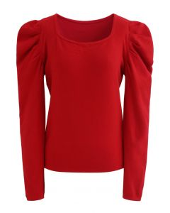 Square Neck Bubble Sleeves Knit Top in Red