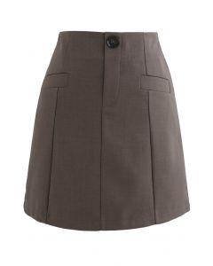 Pocket Embellishment Bud Skirt in Brown