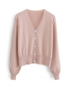 V-Neck Button Down Ribbed Knit Cardigan in Pink