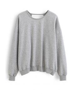 Crisscross Open Back Sweatshirt in Grey