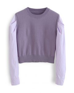 Stripe Sleeves Panel Knit Sweater in Violet
