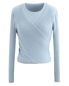 Two-Piece Soft Knit Cropped Top in Blue
