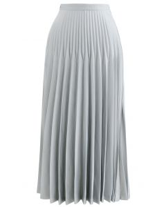High-Waisted Full Pleated Maxi Skirt in Mint