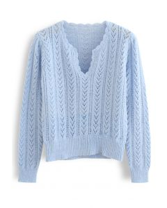 V-Neck Hollow Out Soft Touch Knit Sweater in Blue