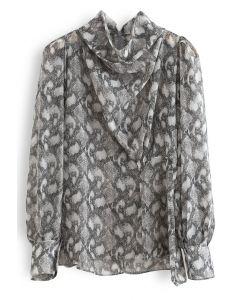 Snake Print Drape Semi-Sheer Top in Grey