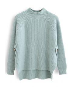 Button Side Hi-Lo Knit Sweater in Mint