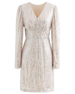 Shimmer Sequin Padded Shoulder Mesh Dress in Gold
