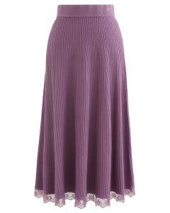 A-Line Lace Hem Knit Skirt in Purple