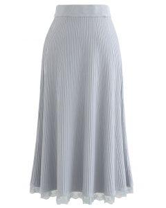 A-Line Lace Hem Knit Skirt in Dusty Blue