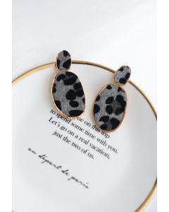 Spotted Faux Fur Gold Earrings