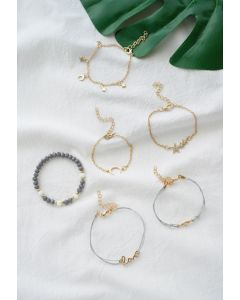6 Packs Metal Beads Strands Bracelets
