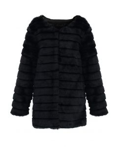 Faux Fur Quilted Coat in Black