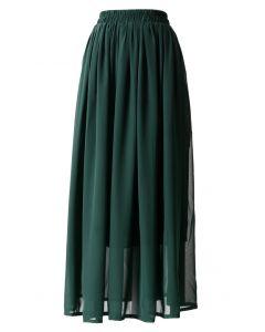 Darkgreen Pleated Maxi Skirt