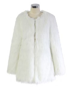 Chicwish Glam White Faux Fur Coat