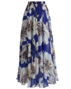 Marvelous Floral Maxi Skirt in Blue
