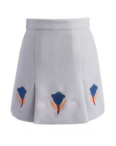 Tulip Embroidered Wool-blend Bud Skirt in Grey