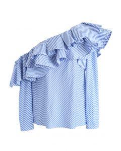 Swanky One-shoulder Ruffle Top in Blue