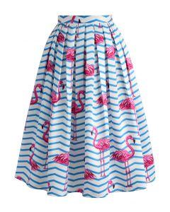 Flamboyantly Flamingo Printed Midi Skirt