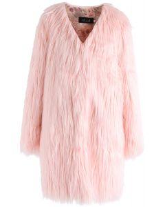 My Chic Faux Fur Longline Coat in Pink