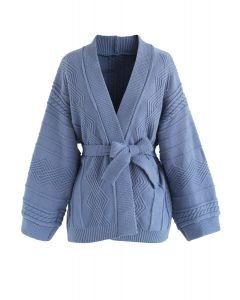 Tenderly Warm Cable Knit Cardigan in Dusty Blue