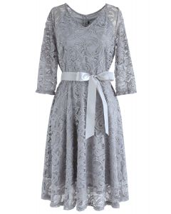Reminisce Autumn V-Neck Lace Dress in Grey
