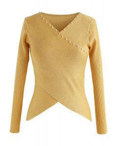 Pearls Lover Wrapped Knit Top in Yellow