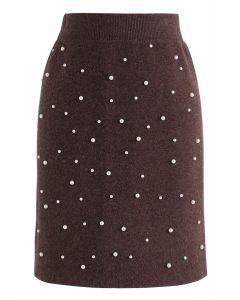 Eternal Pearls Knit Skirt in Brown