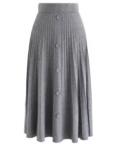 Daily Essential Knit Midi Skirt in Grey