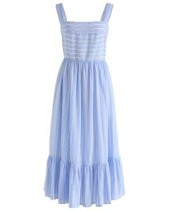 Summery Sense Blue Stripe Cami Dress