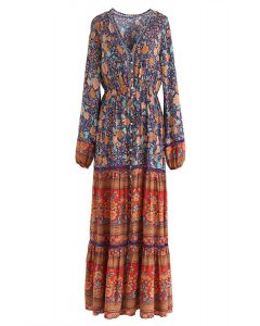 Boho Psychedelic Floral Maxi Dress