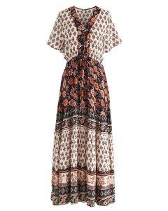 Boho Bomshell Floral Maxi Dress in Black